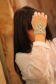 Beaded slave tatted lace bracelet//tatted bracelet//lace bracelet//beaded bracelet//tatted slave bracelet//ice blue bracelet by MypreciousCG on Etsy