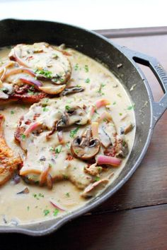 These pork chops in mushroom gravy come together quickly, taste delicious and are made in one skillet!!