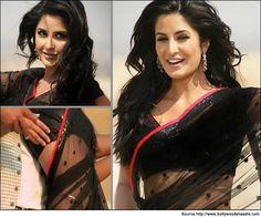 Bollywood Katrina Kaif Singh Is King Black Saree