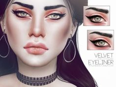 The Sims Resource: Velvet Eyeliner N46 by Pralinesims • Sims 4 Downloads
