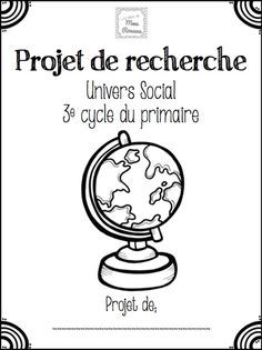 Les idées de Mme Roxane!: Projet de recherche - Univers social Teaching Social Studies, Teaching Tools, Teaching Resources, Teaching Ideas, Sciences Cycle 3, French Kids, French Education, French Phrases, Future Jobs