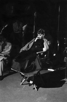 Audrey Hepburn behind the scenes of Sabrina in 1953.