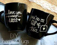 One for him and one for me. Love it! Perfect idea for V-day. 40+ DIY Valentine Gift Ideas for Boyfriend & Husbands - Sharpie Mugs - DIY Valentines Gifts for Him