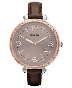 Fossil Watch, Women's Heather Brown Leather Strap 42mm ES3132 - All Watches - Jewelry & Watches - Macy's