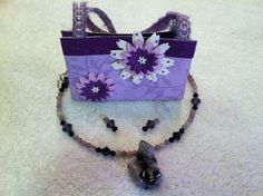 """http://www.facebook.com/PaperCreationsByKristen <---------- For the """"purse"""" and http://www.facebook.com/BeeFlyDeesign <------------- For the Necklace and Earrings!"""
