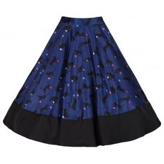 'Ohlson' Cats With Wool Print Circle Skirt by Lindy Bop