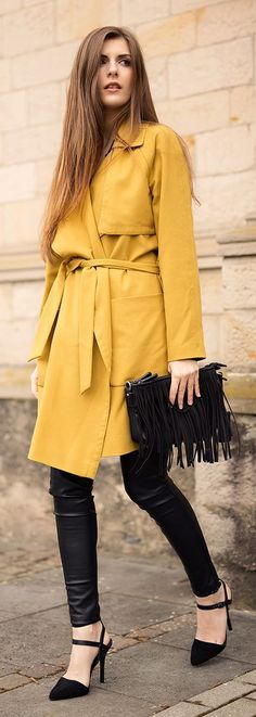 Yellow Trench with Leather Pant and Black Fringe B...