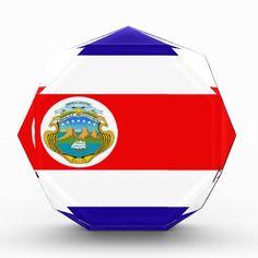Flag of Costa Rica Awards flag, nation, banner, award, gift, acrylic, octagon, country, zazzle, smallbiz, ecommerce, dww25921