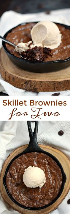 Grab two spoons and dive into this chewy and delicious Skillet Brownies for Two topped with a scoop of vanilla ice cream for the perfect ending to a perfect meal | cookingwithcurls.com