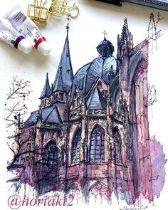 Akihito Horigome (@horiaki2) в Instagram: «ドイツ・アーヘン大聖堂 — Aachen Cathedral , Germany #aquarell #art #painting #watercolor #watercolour #sketch #paint #drawing #sketching #sketchbook #travelbook #archisketcher #sketchaday #sketchwalker #sketchcollector #traveldiary #topcreator #usk #urbansketch #urbansketchers #скетчбук #скетч #скетчинг #pleinair #aquarelle #watercolorsketch #usk #architecture #painting #illustration #drawingsketchbook