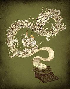tattoo ideas, books, enkel dika, open book, dragons, art, writing, a tattoo, design