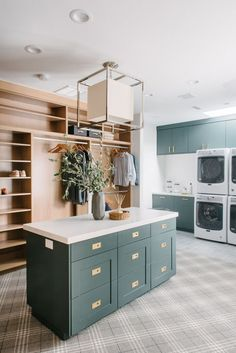 We're showing you the dreamiest master closet + laundry room! Cabinets are painted BM Dark Pewter Laundry Room Decor Modern Laundry Rooms, Laundry Room Design, Room Closet, Master Closet, Master Bedroom, Laundry Room Cabinets, Laundry Room Island, Closet Island, Laundry Shelves
