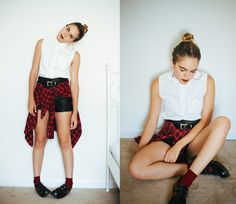 Leila C - Urban Outfitters Blouse, Thrifted Plaid Button Up, Dr. Martens Shoes, H&M Leather Shorts - Gods and monsters