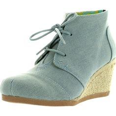 Qupid Womens Olee-11 Rex Lace Up Ankle Wedge BootiesLight Blue Denim9