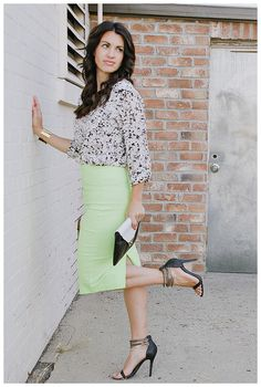 Neon Pencil Skirt - Is there really anything more fun?? Click the link to shop the look! www.mymommystyle.com