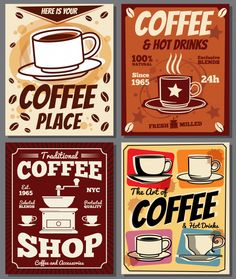 Cafe and restaurant retro posters vector templates with coffee stain Retro Cafe, Vintage Labels, Vintage Posters, Poster Café, Coffee Shop, Coffee Cups, Coffee Artwork, Coffee Places, Coffee Staining