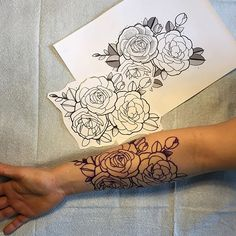 Neo-traditional roses arm tattoo done by David Brown at Glamort Tattoo in Montreal.