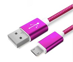 Colourful Nylon Micro USB Cable for Apple and Android Phones – Rose Red - Android