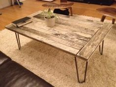 Coffee Table   Use Old Door With Hair Pin Legs And This Would Make A Great
