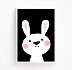50% OFF Sale Black and White Bunny Rabbit Art Printable Baby Art Nusury Art Poster Baby digital Download Print Girls Room Decor Cute Animal