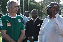 Vahid Halilhodžić with President of Ivory Coast Laurent Gbagbo in May 2008.