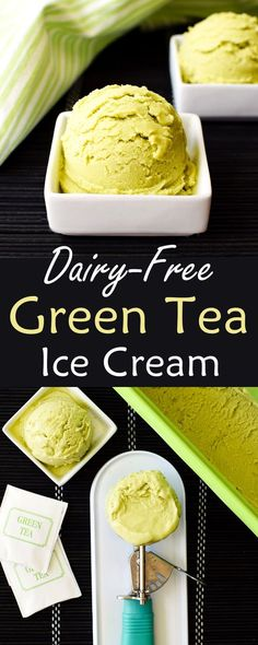 Dairy-Free Green Tea Ice Cream Recipe (naturally vegan, gluten-free, soy-free, optionally nut-free, easy and just 5 ingredients!) @lovemysilk #ad
