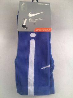 f001f6b15 New Nike Hyper Elite Crew Basketball Socks Mens Shoe Size 6-8 Blue White