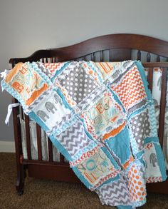 Crib Rag Quilt in Gray Orange and Blue by avisiontoremember