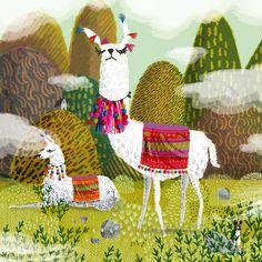 Oh my god these Llamas by Jane Newland! Alpacas, Llama Arts, Children's Book Illustration, Medical Illustration, Art Portfolio, Painting Inspiration, New Art, Art For Kids, Folk Art