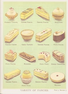 """Baked treats from """"The Victorian Book of Cakes"""" Victorian Recipes, Victorian Cakes, Victorian Tea Party, Vintage Recipes, Vintage Food, British Baking, Food Drawing, No Bake Treats, Food Illustrations"""