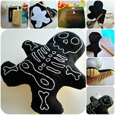 DIY Simple Skelly Men by chexbeeperbebe: Make these as softies/plushies or beanbags! Sewing Toys, Sewing Crafts, Sewing Projects, Diy Crafts, Diy Projects, Holidays Halloween, Halloween Crafts, Halloween Decorations, Halloween Wreaths