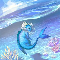 Nicely done, Vaporeon in its natural environment. Love the digital painting style.