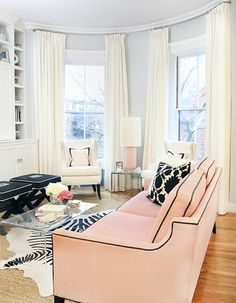 love the sofa...and the zebra rug......and ok...just everything about this happy room :)