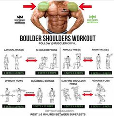 #doubletap if you want BOULDER SHOULDERS! Try this workout SAVE it & use it at the gymLIKE & FOLLOW @musclemorph_ for more exercise & nutrition tips TAG A GYM BUDDY . Enhance your progress with high quality supplementation from @musclemorph_ Available here ➡MuscleMorphSupps.com #MuscleMorph