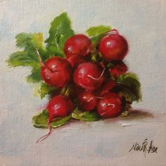 Radishes in Bunch Original Oil Painting by Nina by NinaRAideStudio