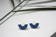 Deep blue, indigo blue wooden earrings, modern royal blue art deco earrings, geometric half circle studs, wood & brass, hand painted studs