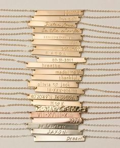 Bar Necklace Personalized Name Plate Necklace by LayeredAndLong. I ordered one of these necklaces and it is beautiful!! I'd like to have one made with the coordinates of where we were married.