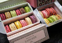 Lovely macarons from Laduree Bastille, Laduree Macaroons, French Macaroons, Unique Desserts, Fun Desserts, Martha Stewart, Laduree Paris, Minis, How To Make Macarons