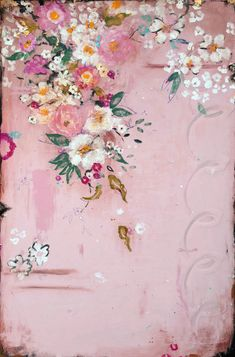 "Kathe Fraga Art, www.kathefraga.com Kathe's paintings are inspired by the romance of vintage floral French wallpapers and Chinoiserie with a modern twist.  Copyright and licensed 2020. ""Pink Perfume"", 36x24 in frescoed birch panel with Japanese gold ink and glossy oil glaze. Art Floral, Vintage Floral, French Wallpaper, French Paintings, Pink Perfume, Sky Art, Chinoiserie, Art Images, Collage Art"