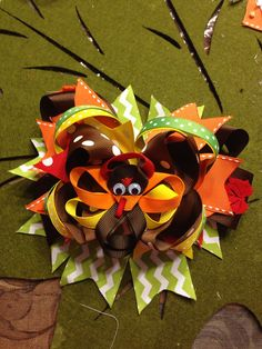 The Gobble Gobble Stacked Hair Bow  by CourtneyLoveBoutique, $15.00