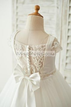 8aa99fa974c Satin Tulle Beaded Lace Cap Sleeves Sheer Back Wedding Flower Girl Dress  with Bow Baby Girl