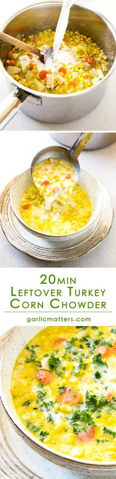 Looking for an idea on how to use leftover turkey? Try my favourite Leftover Turkey Corn Chowder! This recipe is an easy-peasy way to reinvent roast turkey leftovers into another tasty and nutritious meal. Lunch is ready! Leftover Turkey Recipes, Leftovers Recipes, Turkey Leftovers, Dinner Recipes, Turkey Corn Chowder Recipe, Chowder Recipes, Garlic Chicken Recipes, Thanksgiving Recipes, Christmas Recipes