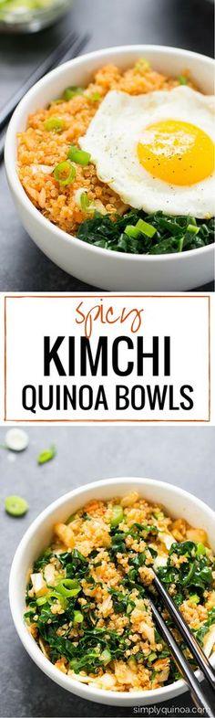 Kimchi Quinoa Bowls Spicy Kimchi Quinoa Bowls -- an easy lunch or dinner recipe that takes less than 15 minutes to make!Spicy Kimchi Quinoa Bowls -- an easy lunch or dinner recipe that takes less than 15 minutes to make! Asian Recipes, Vegetarian Recipes, Cooking Recipes, Healthy Recipes, Quinoa Recipes Easy, Quinoa Dinner Recipes, Vegetarian Bowl, Soup Recipes, Easy Korean Recipes