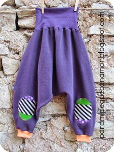 """Para mi peque con amor: Pantalones bombachos """"cagados"""". Patrón talla 4 - 5 años (110 - 115 cm.)"""