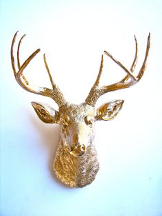 Faux Taxidermy Deer Head wall mount in GOLD by mahzerandvee