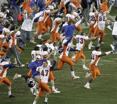 boise state players run onto the field after boise state