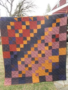 Antique Quilt Wool Patchwork Primitive Rustic Farm by crossroadfox, $110.00