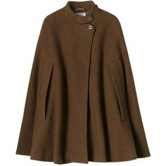 Toast Felted Wool Cape ($140) ❤ liked on Polyvore featuring outerwear, coats, jackets, capes, mocha, long cape coat, long cape, brown cape and cape coat