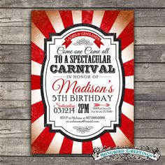 Items Similar To Vintage Carnival Theme Birthday Invitation Coordinating Tags On Etsy
