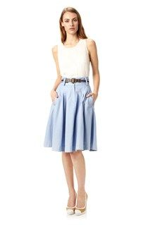 I'm all about the belted skirt this season. // French Connection linen and cotton skirt is Seventies style brought instantly up to date. Tuck in a superfine knit and add block heels for a charming spring look. Laure Linen Skirt has a two button and zip fastening, belt loops, a thick waistband and a pleated skirt.